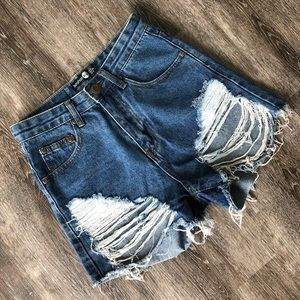 Boohoo Distressed Jean Shorts